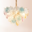 Romantic Heart Chandelier 11 Lights Art Glass & Steel Multi Color Pendant Lamp for Adult Bedroom