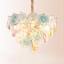 Romantic Heart Chandelier 11 Lights Art Glass & Steel Multi Color Pendant Lamp for Adult Bedroom