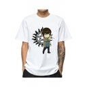 Cool Cartoon Comic Character Printed Basic Round Neck Short Sleeve White T-Shirt