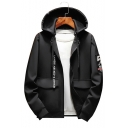 Mens New Fashion Simple Letter Printed Long Sleeve Zip Up Drawstring Hooded Jacket Coat with Pocket