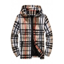 Guys Classic Plaid Check Pattern Hooded Long Sleeve Zip Up Lightweight Sport Jacket
