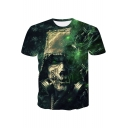 New Trendy Cool 3D Green Skull Pattern Round Neck Short Sleeve T-Shirt