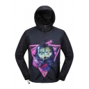 Cool Funny Triangle Wolf Pattern Long Sleeve Hooded Black Waterproof Windbreaker Sun Protection Lightweight Jacket Coat