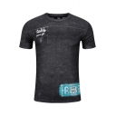 Fashion Checkerboard Letter RESPECT Print Grey Short Sleeve Slim Fit T-Shirt