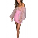 Summer Trendy Pink Tied Front Sexy Off the Shoulder Lantern Long Sleeve Mini Bodycon Dress