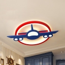 Blue Airplane LED Ceiling Mount Light Creative Metal Third Gear/Warm/White Ceiling Fixture for Nursing Room