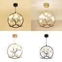 Branch Shape Bedroom Hanging Lamp with Bird Metal 9 Lights Rustic Style Chandelier in Black/Gold