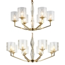 Modern Drum Shade Pendant Light 6/8 Lights Lattice Glass Hanging Lamp in Brass for Living Room