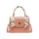 Stylish Plain Silk Scarf Handle PU Leather Shoulder Satchel Handbag 20.5*17*7 CM