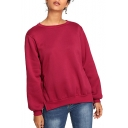 Trendy Simple Plain Fashion Tied Side Basic Round Neck Long Sleeve Loose Fit Burgundy Sweatshirt