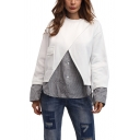 Chic Stripe Fake Two-Piece Patched Round Neck Long Sleeve White Casual Sweatshirt