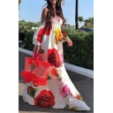 Summer Popular Chic Floral Printed Off the Shoulder Puff Sleeve Maxi Floor Length Flared Dress