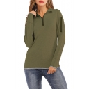 Womens Simple Solid Color Long Sleeve Half-Zip Stand Collar Slim Fit Sweatshirt