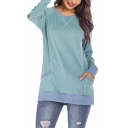 Contrast Hem Simple Plain Basic Round Neck Long Sleeve Loose Leisure Hipster Sweatshirt with Pocket