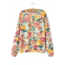 Girls Peasant Style Chic Floral Pattern Round Neck Long Sleeve Pullover Sweatshirt