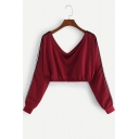 New Stylish V-Neck Striped Long Sleeve Cropped Pullover Burgundy Sweatshirt
