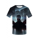 Cool Cartoon Comic Character Printed Round Neck Short Sleeve Loose Fit T-Shirt