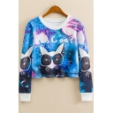 Fashion Galaxy Cartoon Cat with Glasses Round Neck Long Sleeve Blue Cropped Sweatshirt