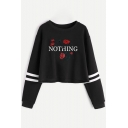 Womens Simple Letter NOTHING Floral Rose Print Stripe Long Sleeve Cropped Black Sweatshirt