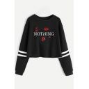 Womens Simple Letter NOTHING Floral Rose Print Stripe Long Sleeve Cropped Black Sweatshirt