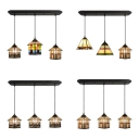 Multi-Color House/Mix Island Light 3 Lights Tiffany Antique Stained Glass Island Pendant for Study Room