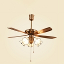 5 Lights Cone LED Ceiling Fan with Pull Chain Antique Glass Ceiling Lamp in White for Dining Room
