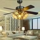 3 Heads Lodge Ceiling Fan with Deer Pattern American Rustic Glass Semi Flush Ceiling Light for Villa