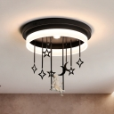 Romantic Night View Ceiling Mount Light with Goddess Black LED Semi Flush Light in Warm/White for Bedroom