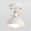 Rotatable Metal Dome Ceiling Fixture 1 Light Modern Style Semi Flush Mount Light in White for Corridor