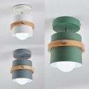 Stair Foyer Drum Semi Flush Mount Light Metal 1 Light Macaron Loft Gray/Green/White Ceiling Lamp
