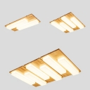 Asian Style Linear Ceiling Mount Light with Rectangle Canopy 2/4/6 Heads Wood Flush Light in Neutral/White for Shop