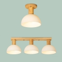 Kindergarten Dome Shade Ceiling Lamp Opal Glass 1/3 Lights Nordic Stylish White Semi Flushmount Light
