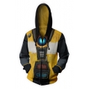 Fashion Yellow Comic Cosplay Costume 3D Printed Long Sleeve Casual Loose Zip Up Hoodie