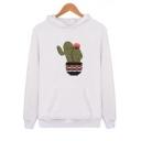 Lovely Cartoon Cactus Printed Long Sleeve Sport Loose Hoodie