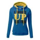 Hot Popular Letter I WOKE UP LIKE THIS Color Block Long Sleeve Slim Drawstring Hoodie