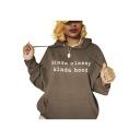 Cool Letter KINDA CLASSY KINDA HOOD Print Dark Coffee Sport Loose Pullover Hoodie