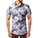 Mens New Fashion Grey Camo Printed Short Sleeve Slim Fitted Shirt