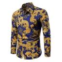 Summer Fashion Spread Collar Long Sleeve Cool Dragon Print Slim Button Shirt for Men