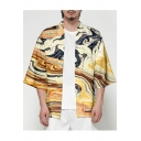 Mens Retro Chinese Style Pattern Three-Quarter Sleeve Loose Fit Sun Protection Kimono Shirt