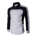 Mens New Fashion Colorblock Long Sleeve Slim Fitted Button Up Business Formal Shirt
