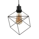 Industrial Cube Wire Frame Suspension Light Metal Black Pendant Light for Restaurant Cloth Shop