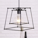 One Light Trapezoid Cage Hanging Lamp Black Metal Pendant Light in Black for Restaurant Cafe