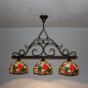Hotel Villa Blossom Island Lamp Stained Glass 3 Heads Elegant Style Bronze Island Pendant