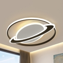 Black/Blue Planet Ceiling Mount Light Modern Acrylic LED Ceiling Fixture in Warm/White for Boys Bedroom