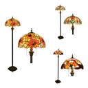 Tiffany Leaf/Sunflower/Victorian Floor Lamp Stained Glass 2 Heads Standing Light for Adult Bedroom