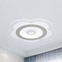 Lovely White LED Flush Mount Light Flower Acrylic Ceiling Fixture with Warm/White Lighting for Child Bedroom