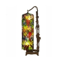 Grape & Leaf Floor Lamp with Cylinder Shade 2 Lights Rustic Style Stained Glass Floor Lamp for Bedroom