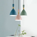1 Light Funnel Pendant Light Macaron Loft Aluminum Suspension Light in Blue/Green/Pink for Cafe Cloth Shop