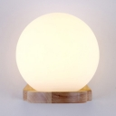 Led Light White Frosted Globe Shade Wall Light with Wood Base