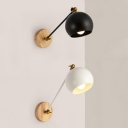 Macaron Style Globe Wall Light Rotatable 1 Light Iron Wall Sconce in Black/White for Study Room